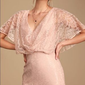Bliss Delight Blush Pink Lace Flutter Sleeve Maxi